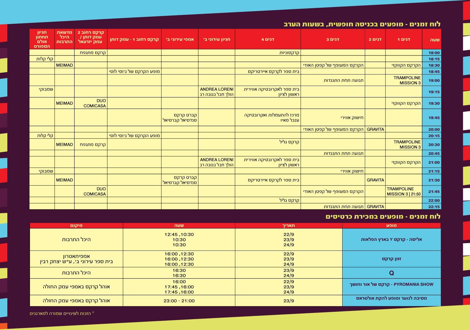 לוח זמנים פסטיבל קרקס מודיעי